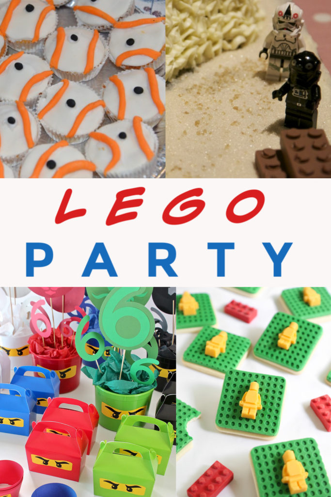 Easy LEGO Party ideas, includes LEGO cupcakes, LEGO Star Wars birthday cake, LEGO party bags and LEGO cookies #LEGOParty #LEGOCAKE #LEGOPartybags