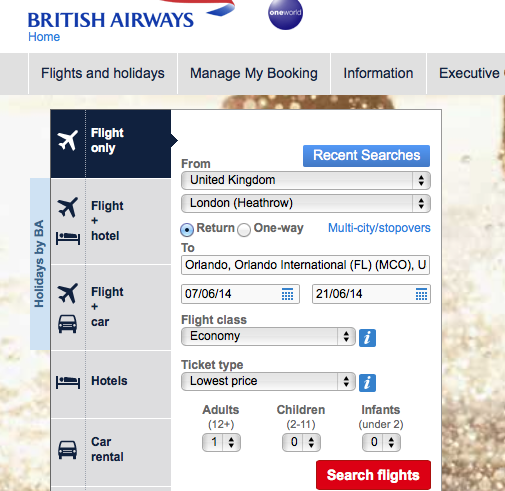 British airways booking