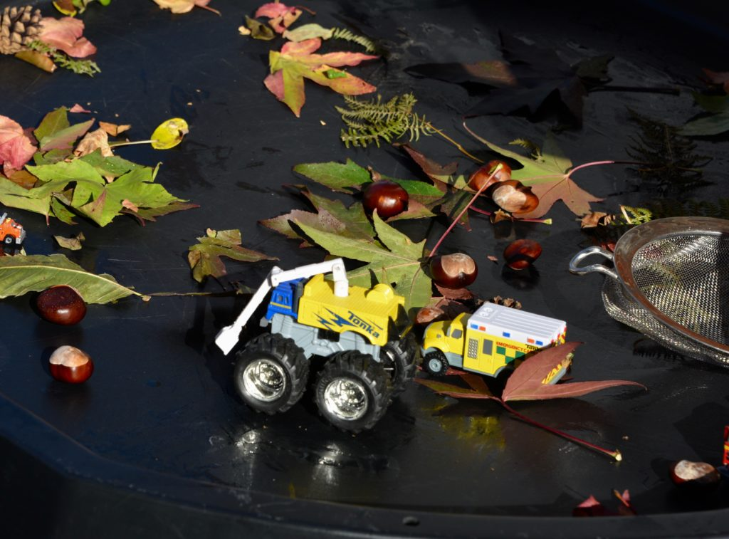 Tonka Truck on a play tray