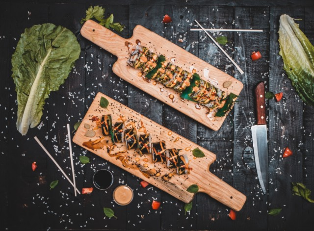 sushi on a board