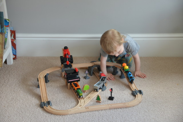 Hape wooden train set