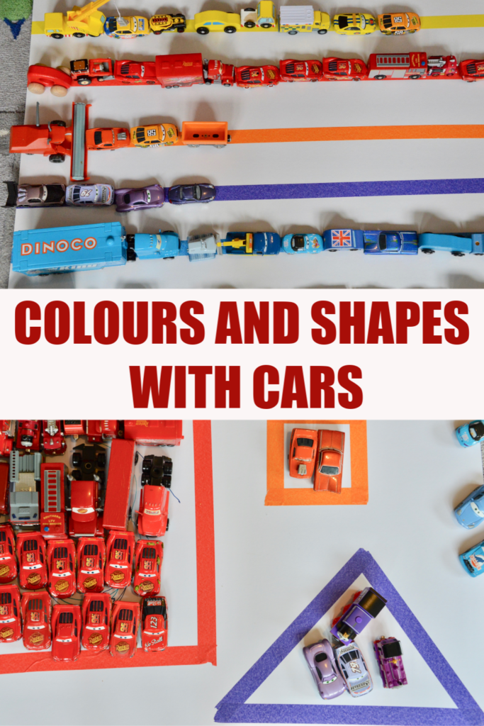 Learning colours and shapes with toy cars - easy toddler learning activity