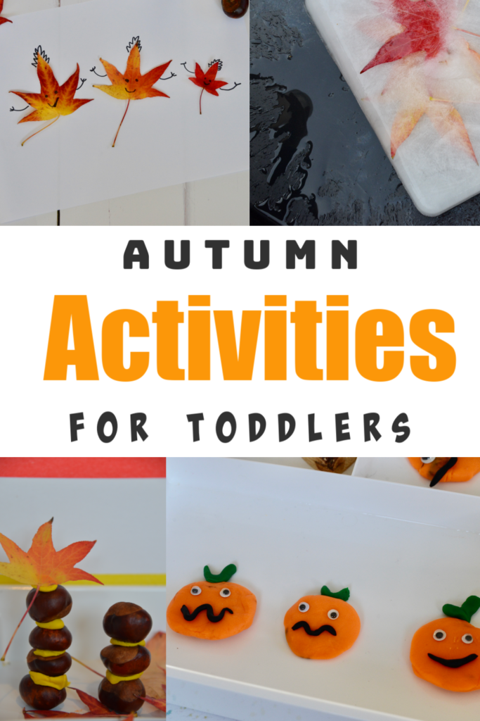 Autumn Activities for Toddlers - fun autumn themed toddler activities, includes autumn ice, play dough pumpkins and more #autumnplay #sutumnscience