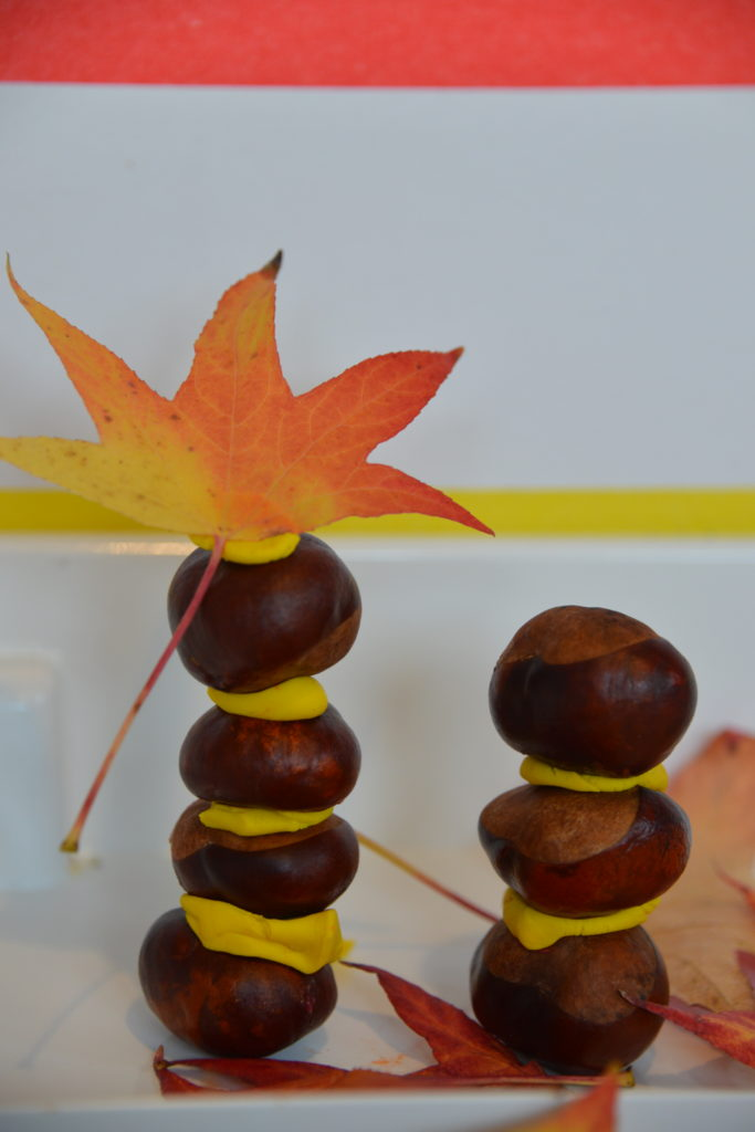 Easy conker and play dough tower
