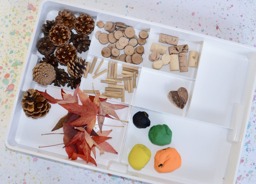 Fun autumn play dough and loose parts set up