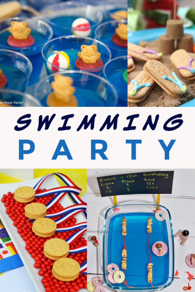 great ideas for a swimming party - swimming pool jelly, google invites and swimming pool treat ideas too! #swimmingpartyideas #swimmingcake #swimmingjelly