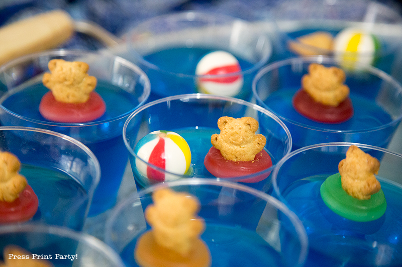 Swimming party dessert idea - blue jelly cups