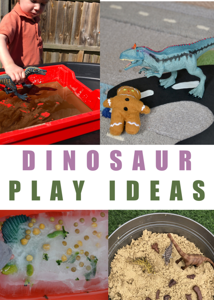 Dinosaur play ideas for kids - make an ice excavation, dinosaur swam, dinosaur tea party and lots more dinosaur play ideas for kids #dinosaursforkids #sensoryplay