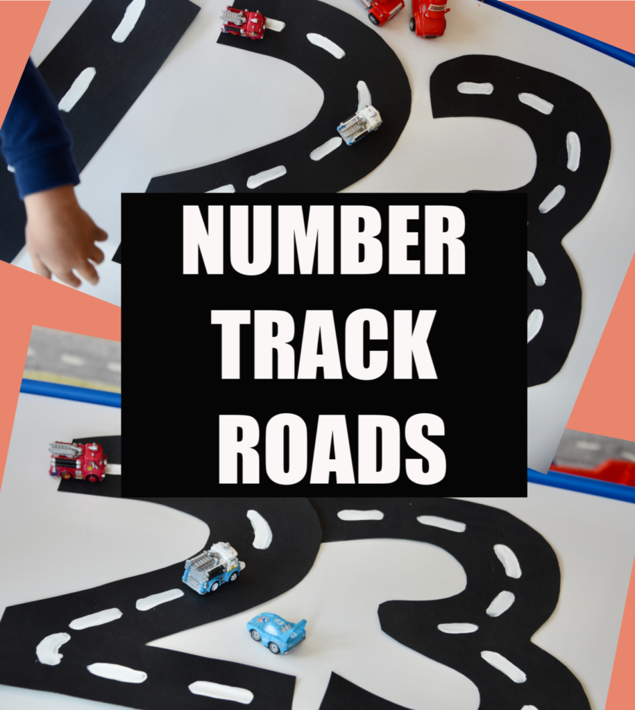 Fun toddler number learning activity. Make number shaped roads on black card #toddleractivitieis #toddlerlearning
