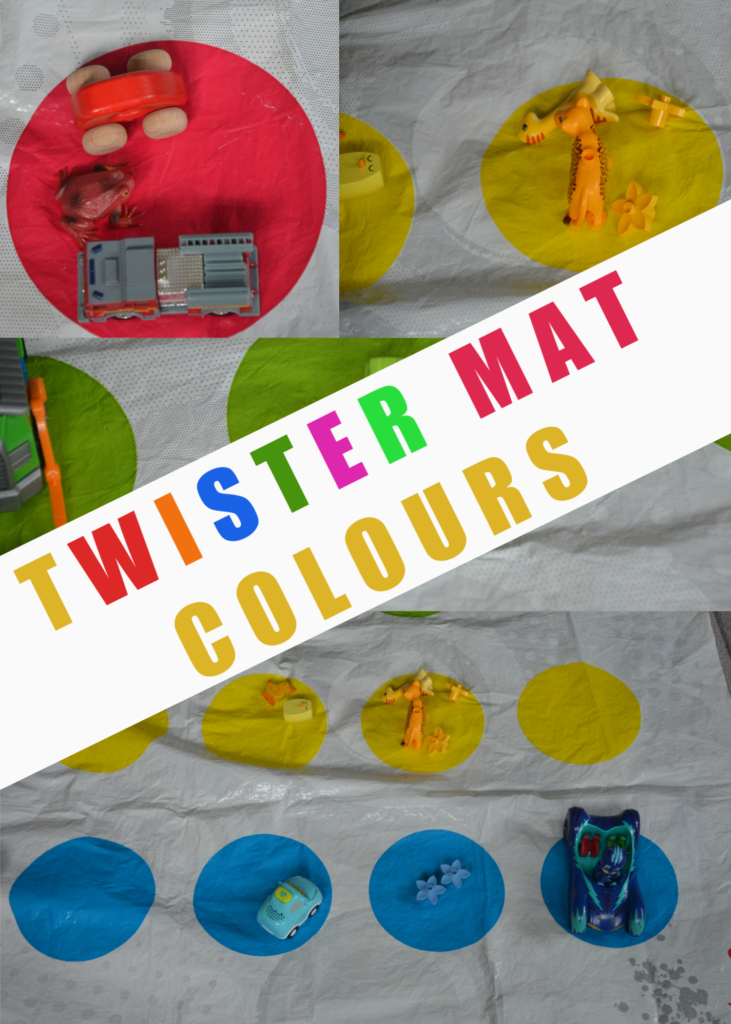 fun colour learning activity for kids using a Twister mat #coloursforkids