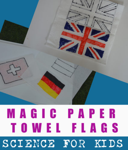 Magic paper towel art, fun craft for learning about flags #crafstforkids #flags
