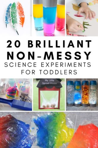 collage of non messy science experiments for toddlers. Includes sensory bags, sensory bottles, magnet ideas, crafts and science activities #toddleractivities.