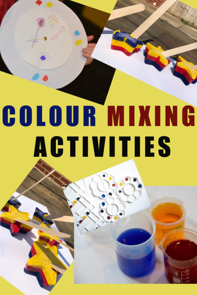 Colour mixing ideas for kids - includes a colour wheel, colour mixing with water and ice painting! #colourmixing #colourtheory #artforpreschoolers #primarycolours