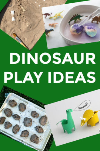easy dinosaur activities for preschoolers  - make fossils, dig for bones and more dinosaur crafts for kids #dinosauractivities #dinosaurcrafts #dinosaurmessyplay