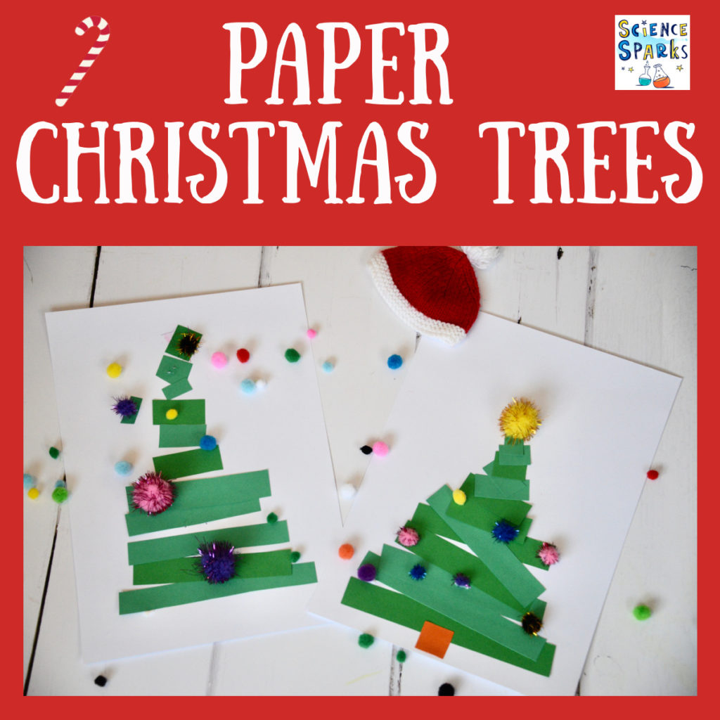 Easy Christmas Tree Craft - practice cutting and measuring at the same time. #ChristmasCrafts #ChristmasCraftsforkids