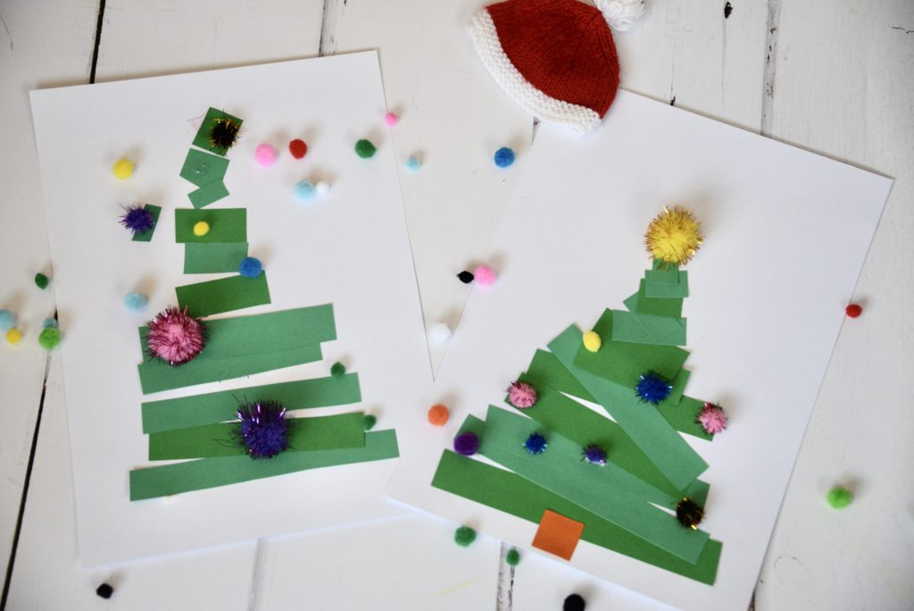 Easy Christmas Tree Craft using strips of paper