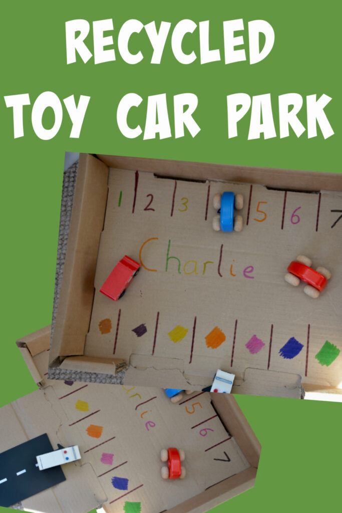 Easy recycled toy car car park made from and old cardboard box #recycledcrafts #carcrafts #cardboardboxcrafts