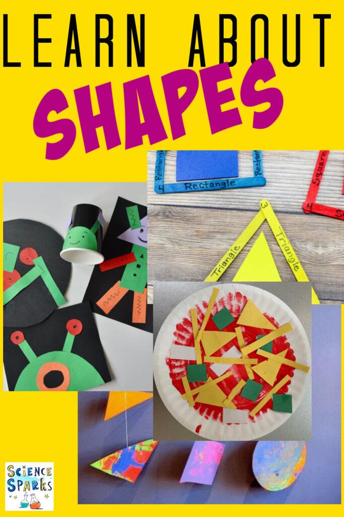Collection of easy shape activities for learning about shapes with preschoolers. Great preschool craft or learning activity.