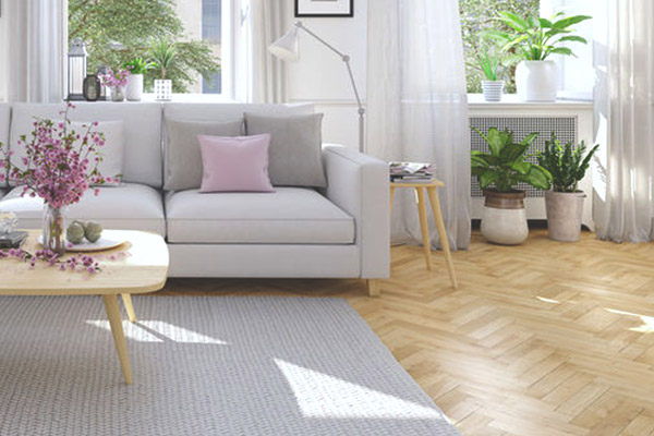 image of a living room with a beautiful wooden floor