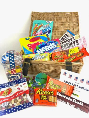 image of a gift hamper full of American sweets